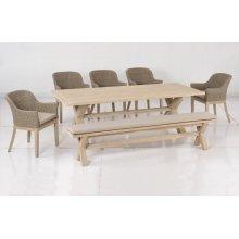 """Gracelyn 91"""" Acacia FSC KD Dining Bench w/ Sunbrella Cast Ash cushion"""
