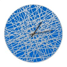 "Banded 16"" Indoor Outdoor Wall Clock - Dark Blue/Silver"