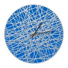 """Banded 16"""" Indoor Outdoor Wall Clock - Dark Blue/Silver"""