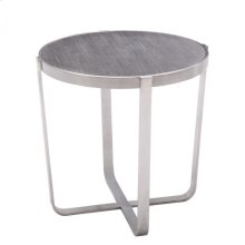 Armen Living Nova End Table in Brushed Stainless Steel with Gray top