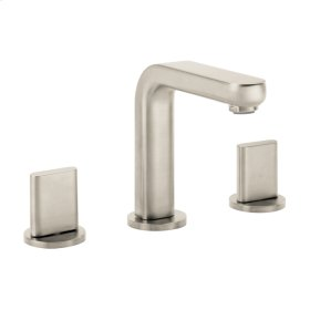 Brushed Nickel Widespread Faucet 100 with Full Handles and Pop-Up Drain, 1.2 GPM