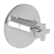 """Uncoated Polished Brass - Living 3/4"""" Round Thermostatic Trim Plate with Handle"""