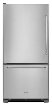 19 cu. ft. 30-Inch Width Full Depth Non Dispense Bottom Mount Refrigerator - Stainless Steel Product Image