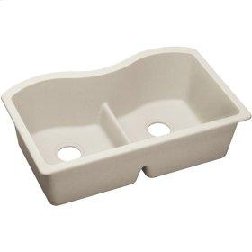 "Elkay Quartz Luxe 33"" x 20"" x 9-1/2"", Equal Double Bowl Undermount Sink with Aqua Divide, Ricotta"