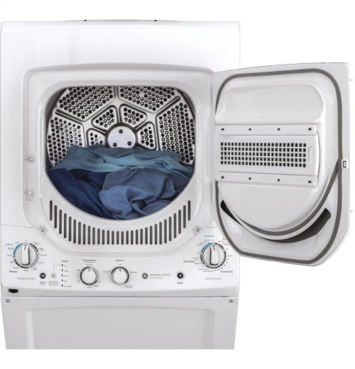 GE Unitized Spacemaker® 2.3 DOE cu. ft. Stainless Steel Washer and 4.4 cu. ft. Electric Dryer