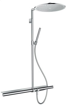 Chrome Showerpipe with thermostat 800 and overhead shower 350 1jet