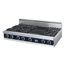 "Viking Blue 48"" Open Burner Rangetop - VGRT (48"" wide, six burners 12"" wide char-grill)"