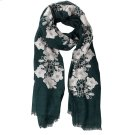 Forest Green Floral Embroidered Scarf. Product Image