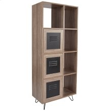 """Woodridge Collection 63""""H 5 Cube Storage Organizer Bookcase with Metal Cabinet Doors in Rustic Wood Grain Finish"""