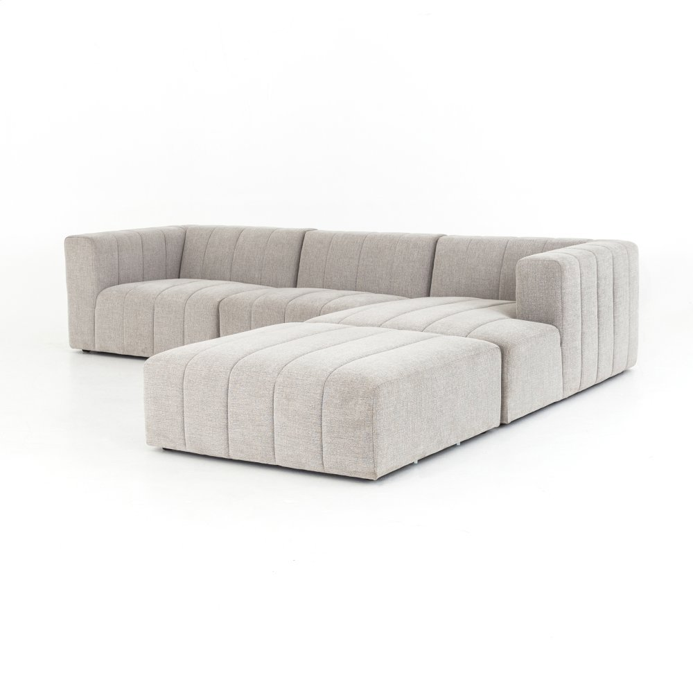 Right Arm Facing Configuration Langham Channelled 3-pc Sectional W/ Ottoman