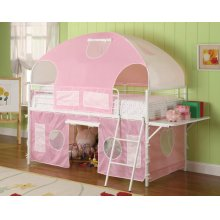 White and Pink Tent Bunk Bed
