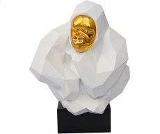White and Gold Pondering Ape Sculpture Product Image