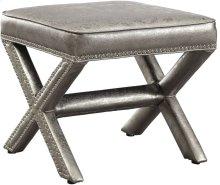 Reese Metallic Silver Ottoman