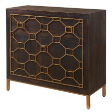 Fairmont Small Cabinet 1 Drawer + 2 Doors Antique Gold Legs, Rustic Brown
