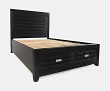 Altamonte Queen Footboard W/2 Drawers, Slats - Dark Charcoal