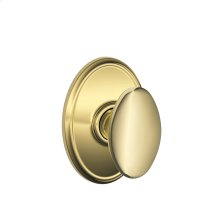 Siena Knob with Wakefield trim Hall & Closet Lock - Bright Brass