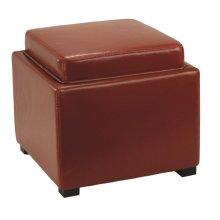 Bobbi Tray Storage Ottoman - Java / Red