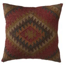 Red Multi Color Kilim Pillow.