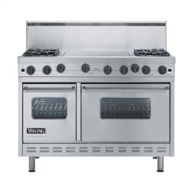 "Stainless Steel 48"" Open Burner Range - VGIC (48"" wide, four burners 24"" wide griddle/simmer plate)"