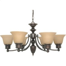 6-Light Chandelier in Mahogany Bronze Finish with Champagne Linen Glass