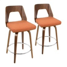 "Trilogy 24"" Counter Stool - Set Of 2 - Walnut Wood, Orange Fabric, Chrome"