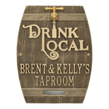 Drink Local Barrel Personalized Plaque - Antique Brass