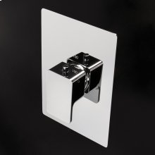 Built in thermostatic valve with a handle and rectangular backplate