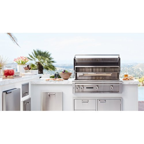 "RTF Island Package includes: L600 Grill, 36"" Access Doors, Double Side Burner, Refrigerator, Paper Towel Dispenser, Trash Center, Double Drawers"
