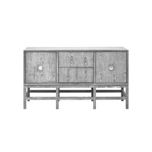 Buffet Cabinet In Grey Cerused Oak With Nickel Hardware.