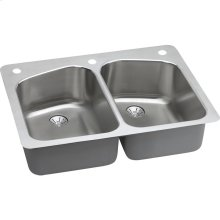 "Elkay Lustertone Classic Stainless Steel 33"" x 22"" x 9"", Equal Double Bowl Dual Mount Sink with Perfect Drain"