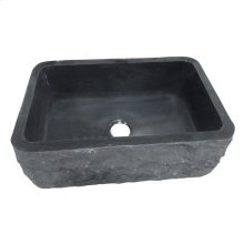 "Birgitta Single Bowl Granite Farmer Sink - 36"" - Polished Black"