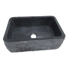 "Birgitta Single Bowl Granite Farmer Sink - 33"" - Polished Blue Gray"