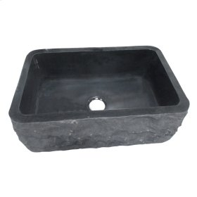 "Birgitta Single Bowl Granite Farmer Sink - 36"" - Polished Black"