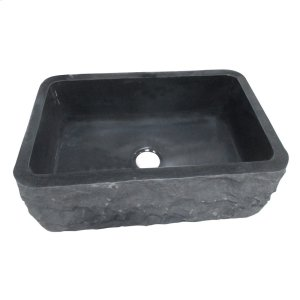 "Birgitta Single Bowl Granite Farmer Sink - 36"" - Polished Black Product Image"