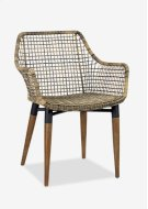 Outdoor Mercury Arm Chair With Wood-iron Accents Legs - Antique Texture Synthetic Rattan (24X24X32) Product Image