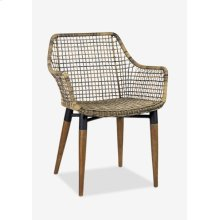 Outdoor Mercury Arm Chair With Wood-iron Accents Legs - Antique Texture Synthetic Rattan (24X24X32)