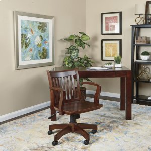 Office StarDeluxe Wood Banker's Chair With Wood Seat In Espresso Wood Finish