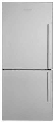 "30"" Bottom Freezer/Fridge 18 cu ft, wrapped stainless doors, stainless handles, left hinge"