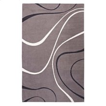 Therese Abstract Swirl 8x10 Area Rug in Charcoal, Black and Ivory