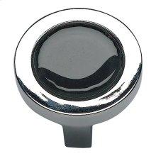 Spa Black Round Knob 1 1/4 Inch - Polished Chrome