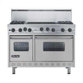 "Metallic Silver 48"" Sealed Burner Self-Cleaning Range - VGSC (48"" wide, four burners & 24"" wide char-grill)"