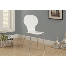 """DINING CHAIR - 4PCS / 34""""H / WHITE BENTWOOD/ CHROME METAL"""