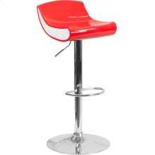 Contemporary Red and White Adjustable Height Plastic Barstool with Chrome Base