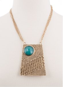 BTQ Burnished Gold Chainmail with Faceted Blue Stone