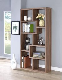 - Eight shelf bookcase finished in elm - Constructed with MDF, particle board, and engineered veneer- Also available in weathered grey (#800510), cappuccino (#800264), white (#800136), and grey driftwood (#801137) Product Image