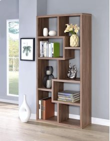 - Eight shelf bookcase finished in elm - Constructed with MDF, particle board, and engineered veneer- Also available in weathered grey (#800510), cappuccino (#800264), white (#800136), grey driftwood (#801137), and walnut (#801138)