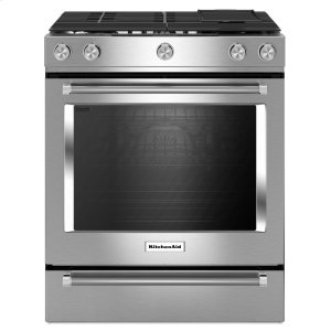30-Inch 5 Burner Gas Convection Slide-In Range with Baking Drawer - Stainless Steel -