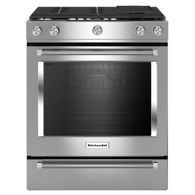 KitchenAid 30-Inch 5 Burner Gas Convection Slide-In Range with Baking Drawer - Stainless Steel