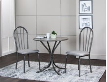 Sunset Trading 3 Piece Steel Gray Dining Table Set - Sunset Trading