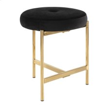 Chloe Vanity Stool - Gold Metal, Black Velvet